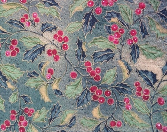 005 ~ Christmas fabric Green holly Red berries