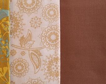 FQ033 ~ 4 Fat quarters Golds Browns Blues Floral prints Solid color Quilting