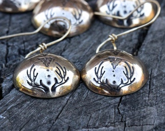 Antler Earrings Hammered Brass Earrings Brass Disc Earrings Circle Earrings Textured Brass Disc Earrings Antlers Deer Dangle Earrings Boho