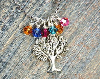 Family Trees Grow With Love - Custom Made Birthstone Necklace - Silver