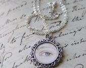 Sense and Sensibility - Marianne Eye Miniature Hand-Painted Pendant Necklace Original Painting  Jane Austen