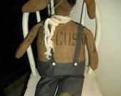 Primitive Folk Art Rustic Handmade Burlap Sack Spring Rabbit - Dude