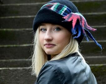 Black Downton abbey inspired cloche Felt hat felted Hat wool felt hat Felt cloche womens felt Hat Felt Hats Tartan Scarf