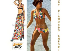 495 Simplicity 5644 Womens Bikini Swimsuit & Long Wrap Skirt size Medium 12-14 Bust 34 36 Vintage 1973 Simple to Sew Pattern Uncut