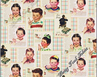 """Springs / Kellogg's """"Kids Plan"""" CP56086 Norman Rockwell Vintage Cereal Ads Cotton Fabric Priced Per 1/2 Yard"""