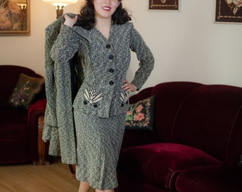 Vintage 1940s Dress Set - Incredible and Rare 3 Piece Black and White Wool Boucle 40s Suit and Matching Coat with Chenille Appliqué