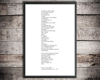 Charles Bukowski Printable Poem 'How Is Your Heart' Instant Download Literature Poster Motivational Poem Digital Poster Dirty Realism Poetry