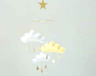 "Cloud and Star mobile for nursery ""DAISY"" with gold star and gold raindrops by The Butter Flying-white and yellow baby room"