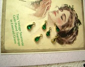 Six Tiny Vintage Swarovski Teardrop Charm Emerald Green GP Rhinestone Connector
