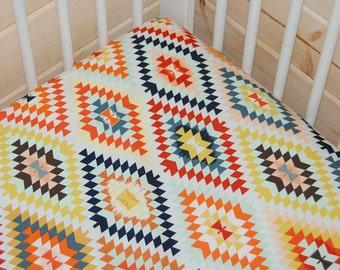 tribal crib sheet- aztec crib sheet- wanderer fitted crib sheet / mini crib sheet/ changing pad cover- aztec baby bedding