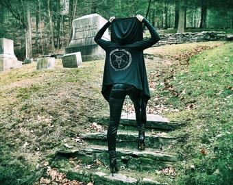 Black & White Pentagram Drape Hoodie