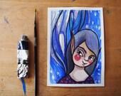Blue fairy, original fantasy watercolor, postcard illustration, woodland spirit