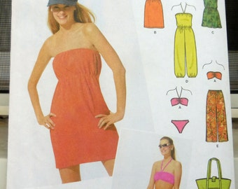 Simplicity 5008 - Juniors Beachwear & Swimwear - Bikini Swimsuit, Beach Bag, Romper, Jumpsuit, Bandeau, Pants, Dress - UNCUT - Sz. 7 - 16