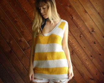 Yellow Striped Knit Sweater Tank Top Pullover - Vintage 80s - OS MEDIUM M