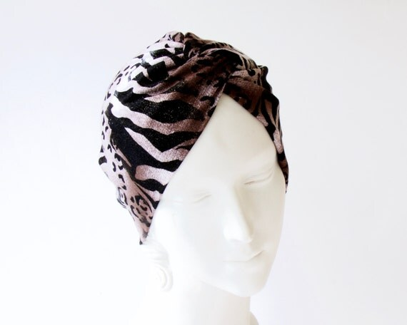 Full Turban Animal Print Headscarf Boho Chic Hair Scarf Hippie Chic Festival Wear Chemo Cap Doo Rag Retro Hair Snood Tiger Print 1940s Hat