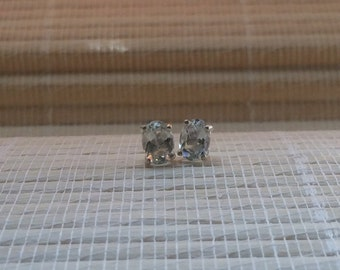 White Topaz Stud Earrings Sterling Silver April Birthstone 7x5mm