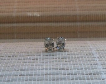 White Topaz Stud Earrings Sterling Silver April Birthstone 7x5mm