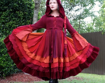 Upcycled Sweater Coat with a Medieval Liripipe Hood by SnugglePants- Autumn Burgundy- Ready to Ship