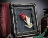 Victorian Frame Oddities Anatomical Heart and Hand Gothic Artwork 4 x 3.5 inches