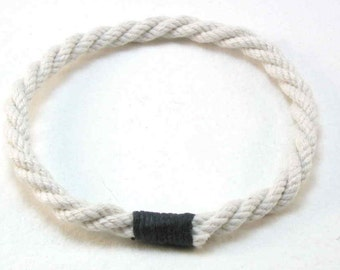 white cotton rope grommet bracelets with black whipping soft bracelets rope jewelry soft bangle beach fashion 1812