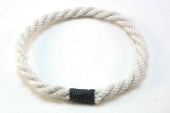 twisted white cotton rope bracelets with black whipping grommet bracelets rope jewelry soft bangle beach fashion 1812