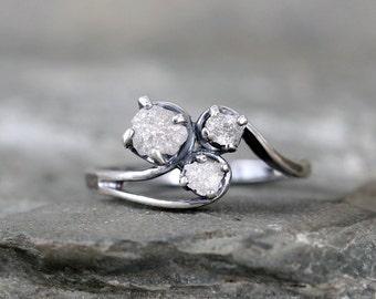 Raw Diamond Trio Ring - Uncut Rough Diamond - Diamond Engagement Rings - 3 Stone Rings - Raw Gemstone - April Birthstone - Anniversary Ring