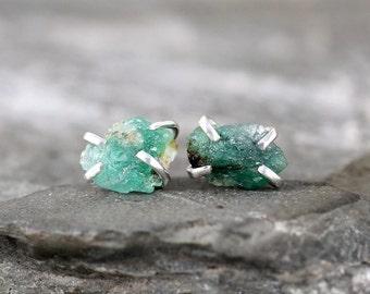 Emerald Earrings - Raw Emerald Stud Earring - Sterling Silver - May Birthstone - Green Raw Gemstone Jewellery - Made in Canada