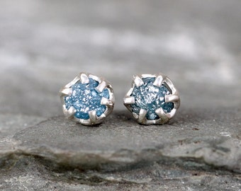 Raw Blue Diamond Earrings - Sterling Silver Vintage Inspired - Stud Earring - April Birthstone - Something Blue - Conflict Free Diamonds
