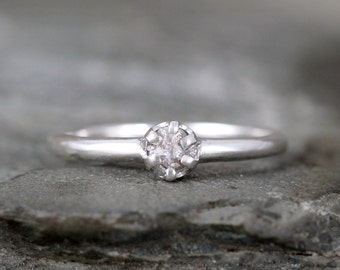 Raw Diamond Promise Ring - Sterling Silver Six Claw Setting - 1/4 carat Rough Uncut Diamond Gemstone - April Birthstone - Engagement  Ring