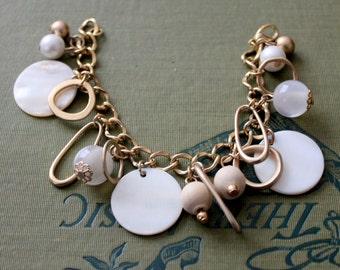 Vintage Bracelet Charm Bracelet Gold Tone White Shell