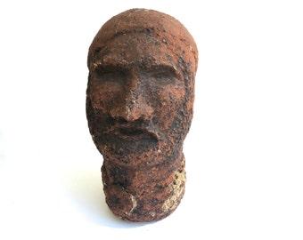 Mid Century Brutalist Bust~ Bearded Man~ Paper Mache head ~ Head of Zeus~ Modern outsider art