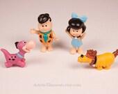 Flintstone Kids Fred Flintstone Dino Betty Rubble Stalagbite Vintage Toy Figures Set of 4 Four Hanna Barbera