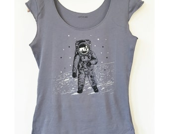 Women's Astronaut Moon Shirt - space walk on the moon graphic with monochrome grey black white screen print, feminine cap sleeve t-shirt