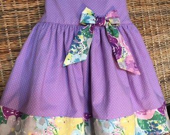 Toddler girls' cotton purple party dress