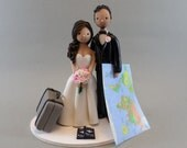 Bride & Groom Personalized Travel Theme Wedding Cake Topper - reserved for coocai05