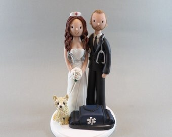 Cake Toppers - Nurse & EMT  with a Dog Personalized Wedding Cake Topper