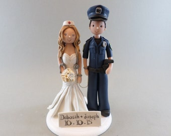 Police Officer & Nurse Customized Wedding Cake Topper