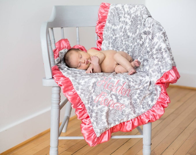 Coral Pink and Gray Damask Minky Baby Blanket - for baby toddler or adult Can Be Personalized