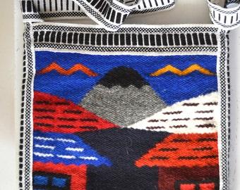 Vintage Woven Cross Body Purse/ Mexican Weaving Bag/ Souvenir Purse