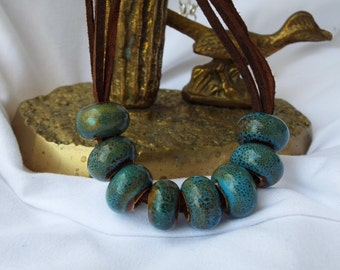 Turquoise and Brown Speckled Pottery Beads on Leather Necklace
