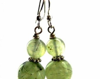 Seafoam prehnite earrings, green apple.  Ethereal Whispers