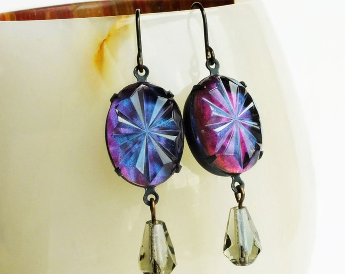 Iridescent Purple Earrings Vintage Painted Faceted Glass Rhinestones Violet Grey Nail Polish Jewelry