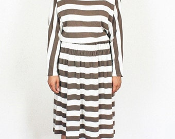 Brown and White Striped 70's Sweater Dress