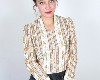 Floral Cotton 70's Blouse