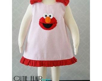 Elmo Dress, Elmo A line Dress, Elmo Outfit, Baby Elmo Dress, Elmo Pink Seersucker Dress, Elmo First Birthday Dress, Elmo Jumper, Girls Elmo