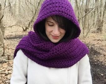 Purple hooded scarf, crochet hooded scarf, crochet scoodie, royal purple scarf, purple long scarf, long hooded scarf, purple crochet scarf