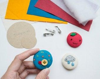 Poofy Button Badge DIY sewing kit