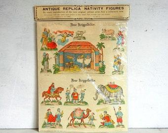 Vintage Christmas Paper Cut-Out Nativity Figures | Printed in Japan | Merrimack Publishing