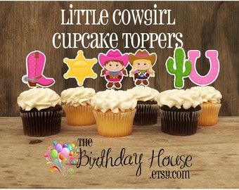 Cowgirl Birthday Party - Set of 12 Assorted Little Cowgirl Cupcake Toppers by The Birthday House