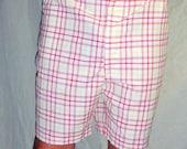 Vintage Puritan Red Yellow Plaid Bermuda Shorts Sz 40